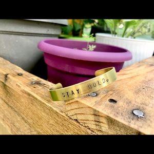 Hand stamped adjustable brass bracelet